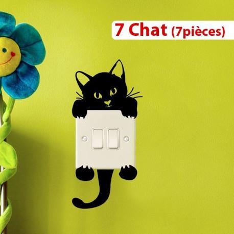 Stickers 7 Chat pour Prise (7pièces) autocollant vinyle Noir