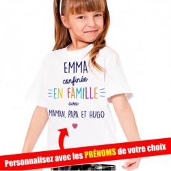 T-Shirt Enfant Confinée en famille avec prénoms à personnaliser